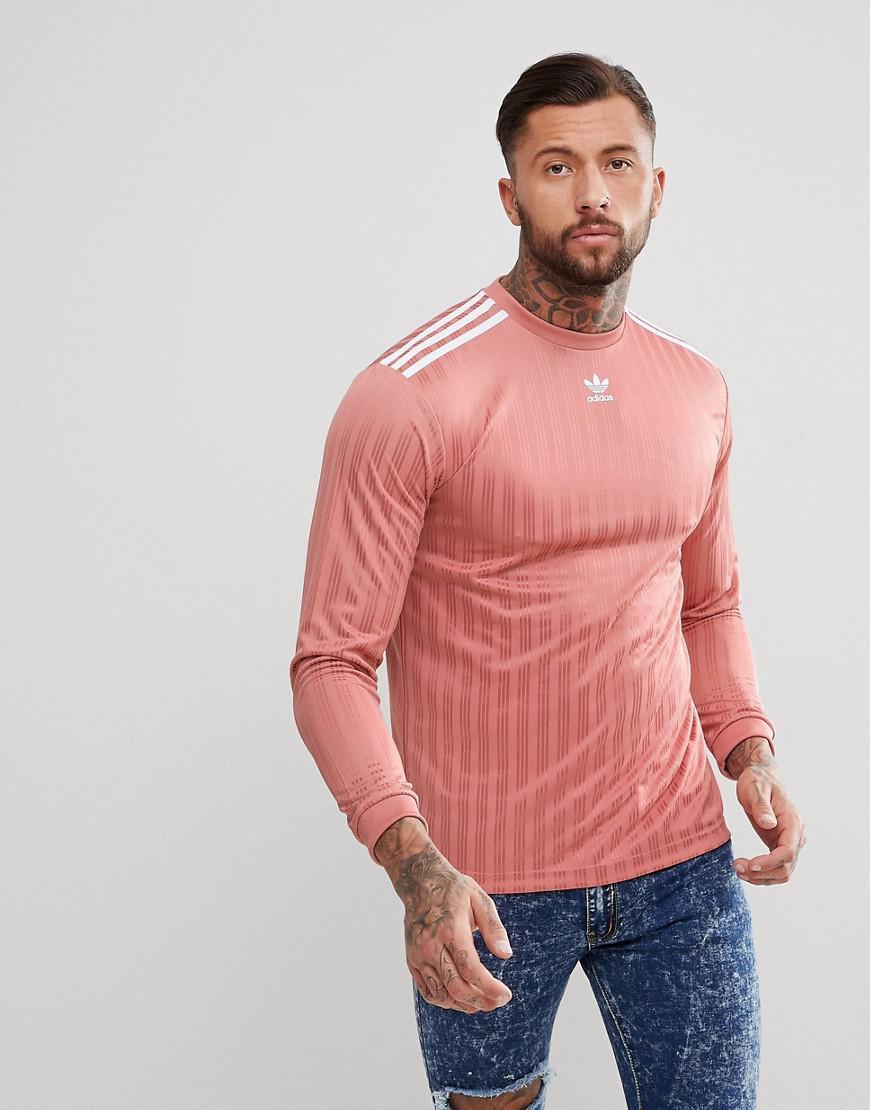 Lyst - adidas Originals Adicolor Long Sleeve Football Jersey In Pink ... 6f6ee1c6c
