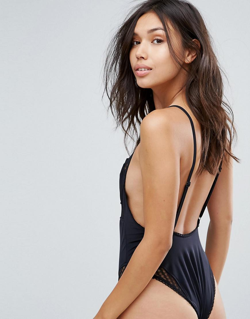 Lyst - Lost Ink Lace Panel Swimsuit in Black db0709f396