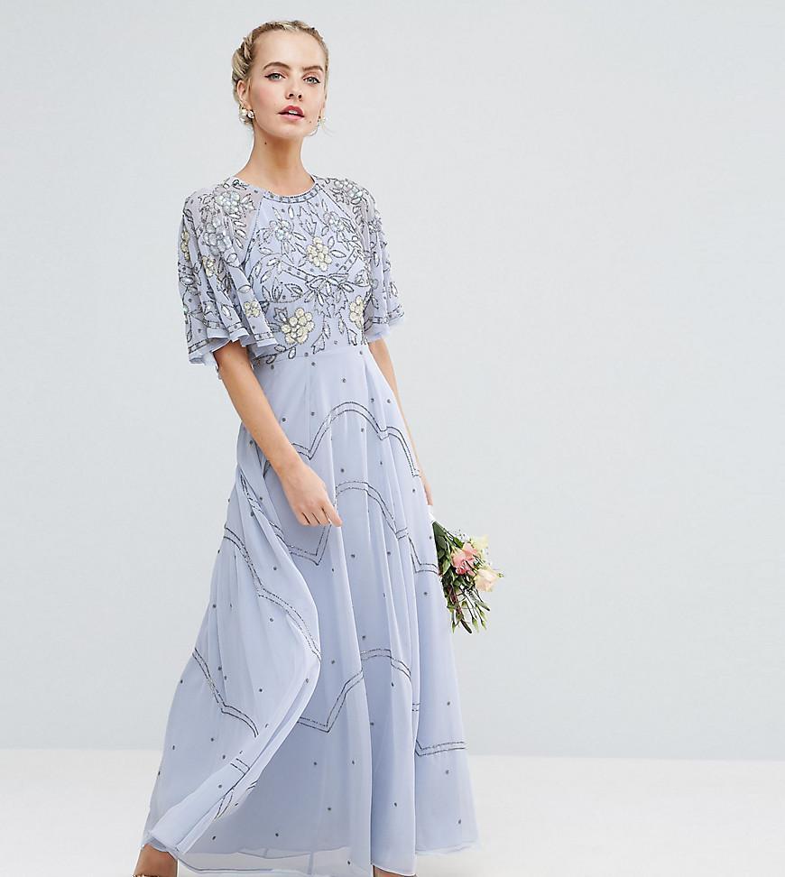 9269c8c8b1d ASOS Wedding Embellished Floral Flutter Sleeve Maxi Dress in Blue - Lyst