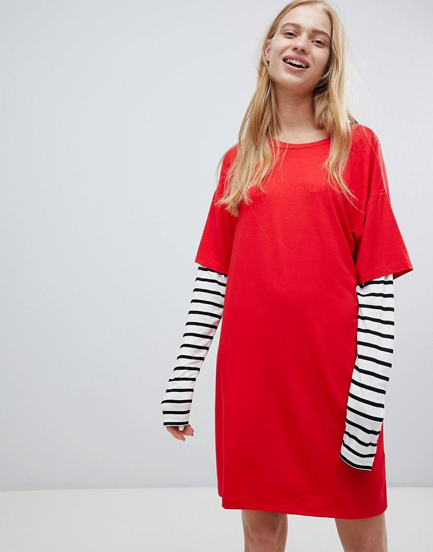 e794ce78068 Lyst - ASOS Asos T-shirt Dress With Stripe Sleeve in Red