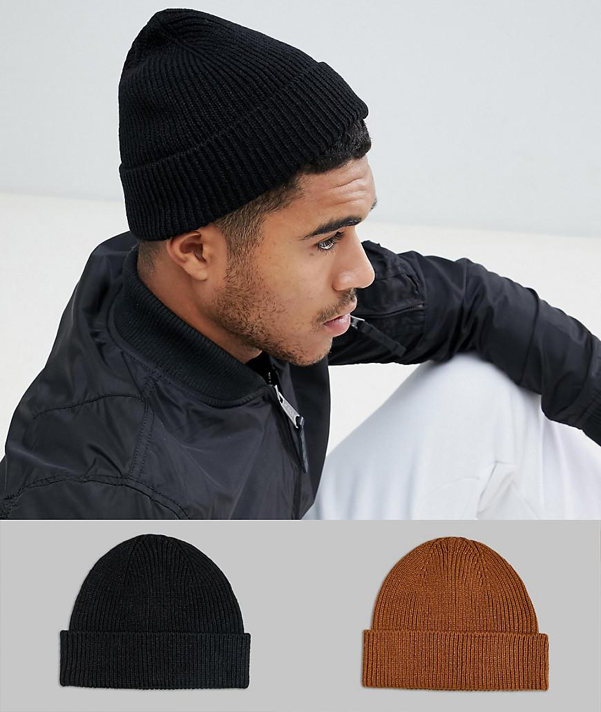 b838866f3 ASOS 2 Pack Fisherman Beanie In Black & Tobacco Save in Black for ...