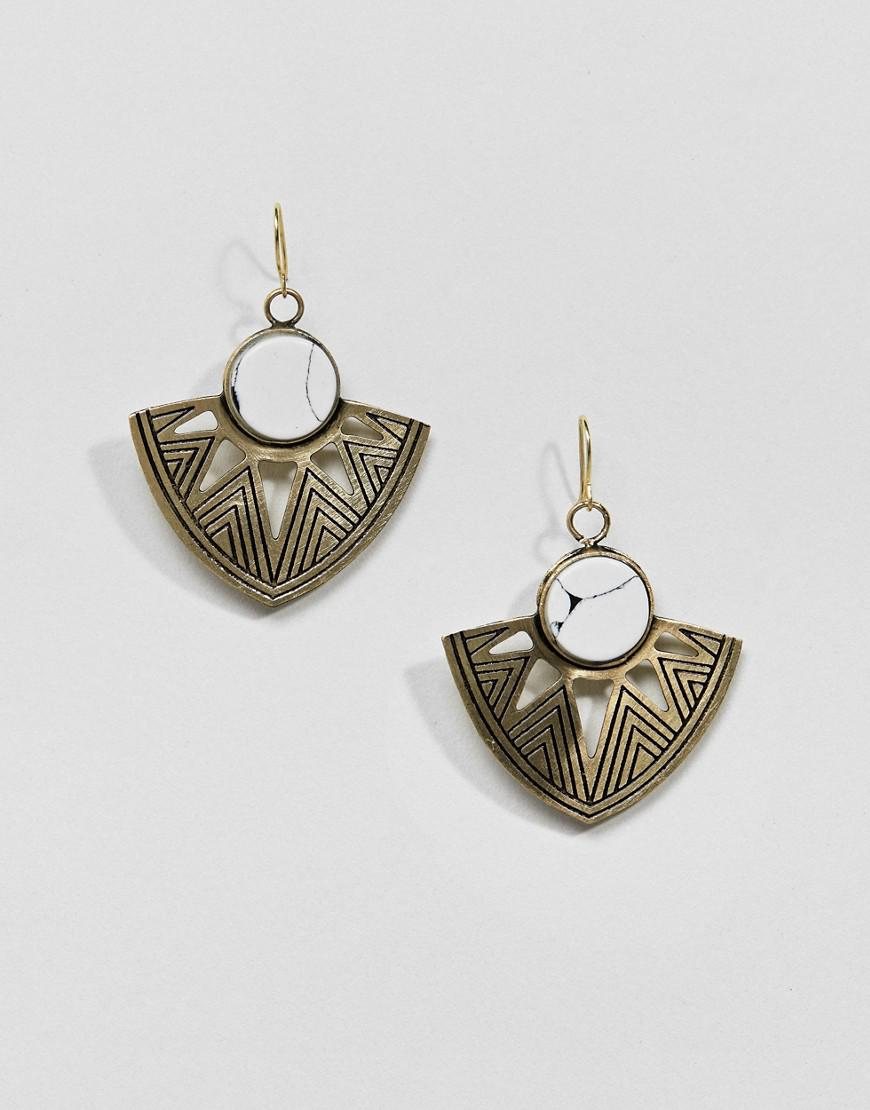 DESIGN Engraved Plate And Bead Drop Earrings - Antique silver Asos u6Nw8gwLA