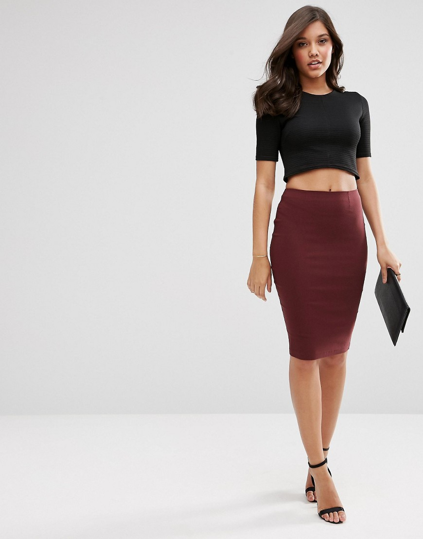 lyst asos high waisted pencil skirt in red