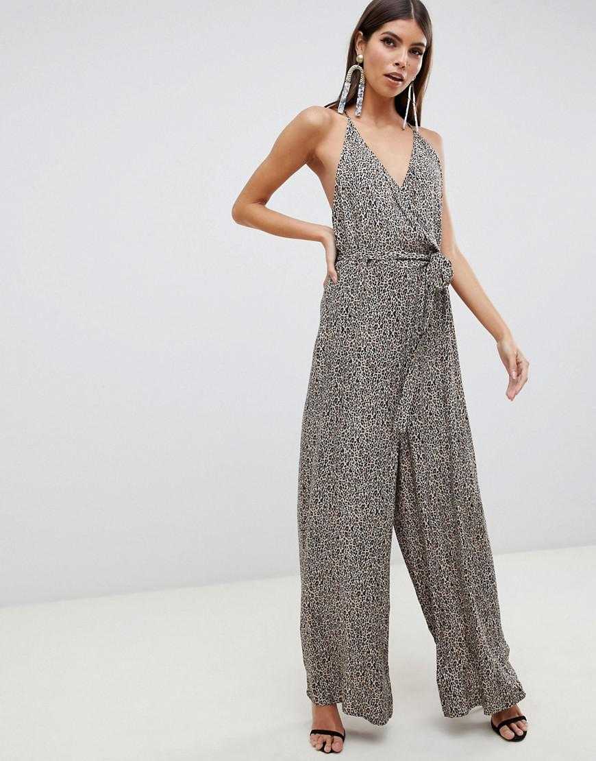 f57036f88d0e5 Lyst - ASOS Strappy Wrap Front Jumpsuit In Leopard Print in Gray