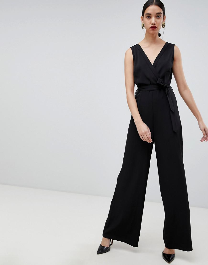 cca5fb90df3 Lyst - UNIQUE21 Unqie 21 Sleeveless Jumpsuit With Belt in Black