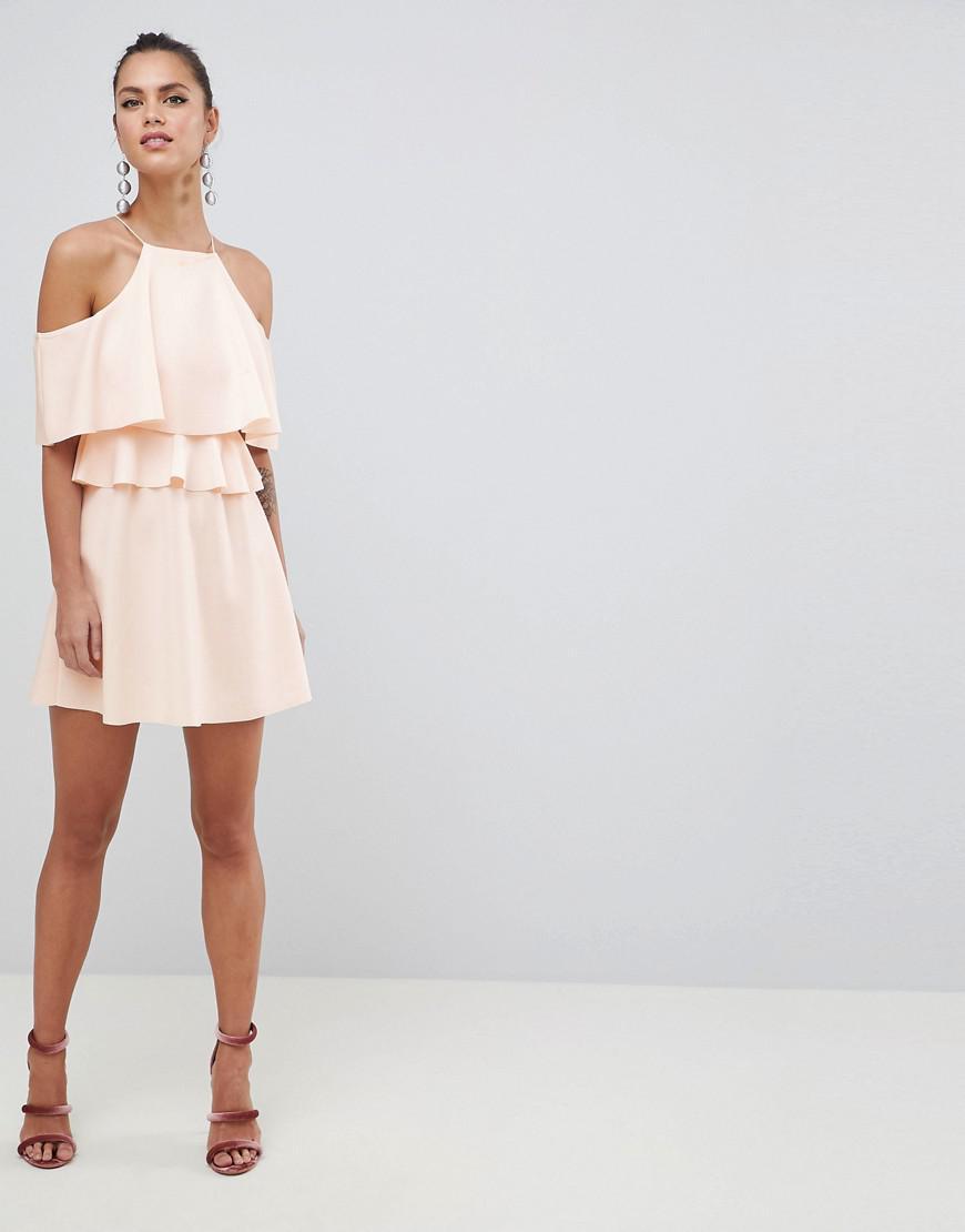 941f6a421b4 Lyst - ASOS High Neck Cold Shoulder Skater Mini Dress in Pink - Save 11%