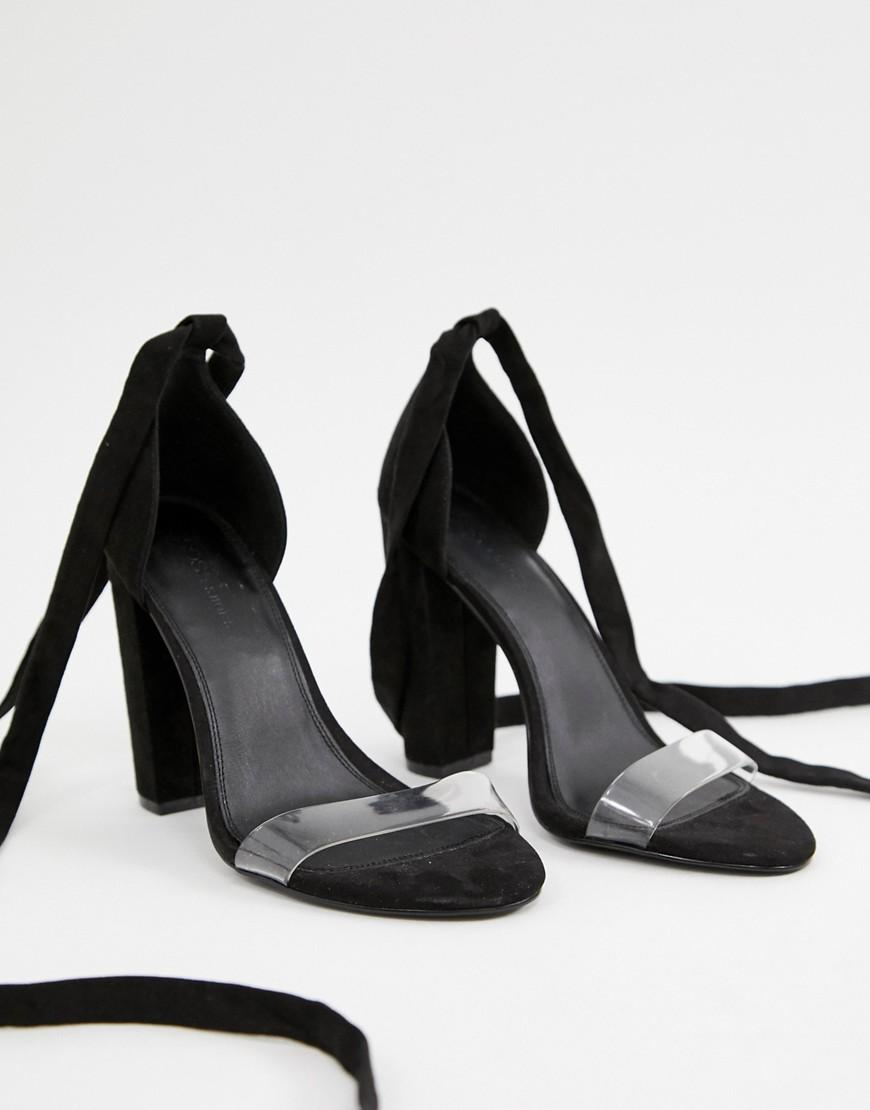 cd1ad4149db7 Lyst - ASOS Wide Fit Witness Clear Barely There Block Heeled Sandals in  Black