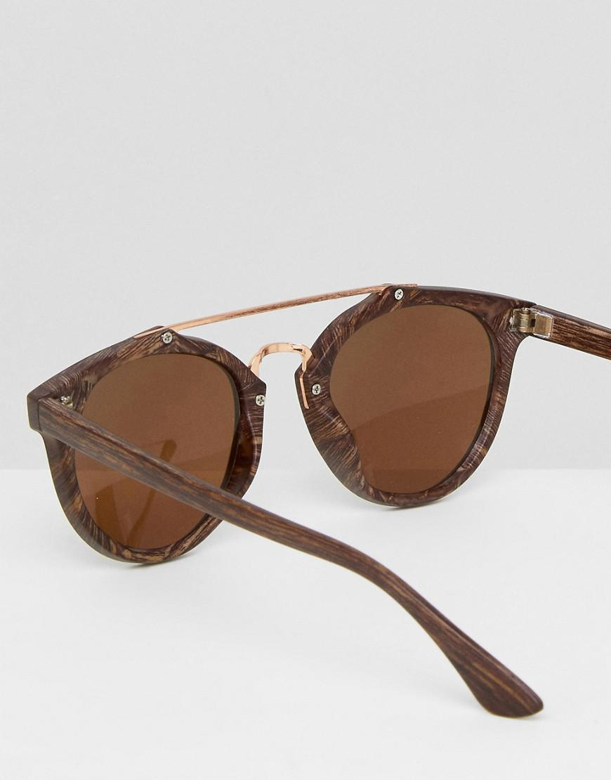 a4f077895d5 Lyst - ASOS Round Sunglasses In Wood Effect Frame With Brown Lens in ...
