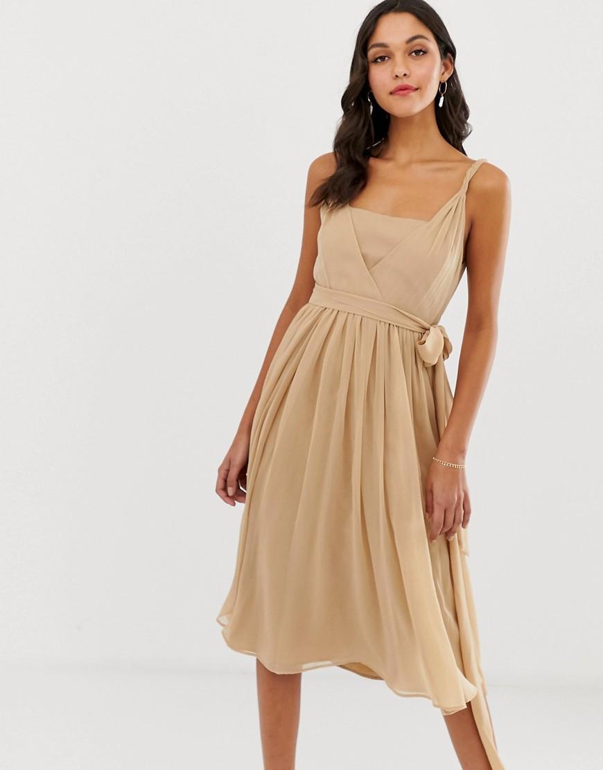 bb758c23a7180 Lyst - ASOS Soft Chiffon Square Neck Midi Prom Dress With Twist ...