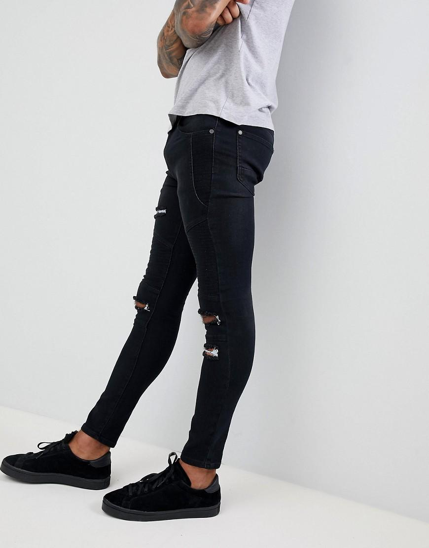 03c76bdd2d85a Lyst - BoohooMAN Skinny Biker Jeans With Rips In Black in Black for Men