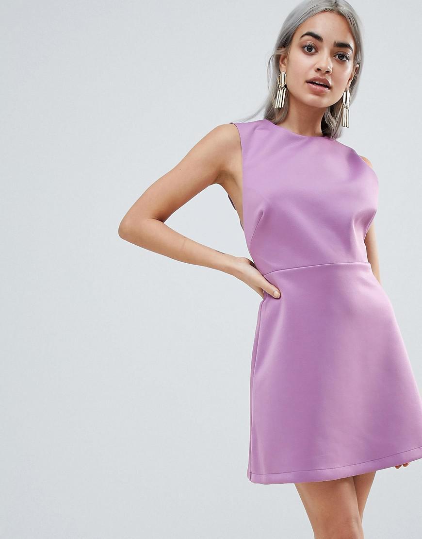 e01d83076c54 ASOS Bow Strap Back A Line Mini Dress in Purple - Lyst