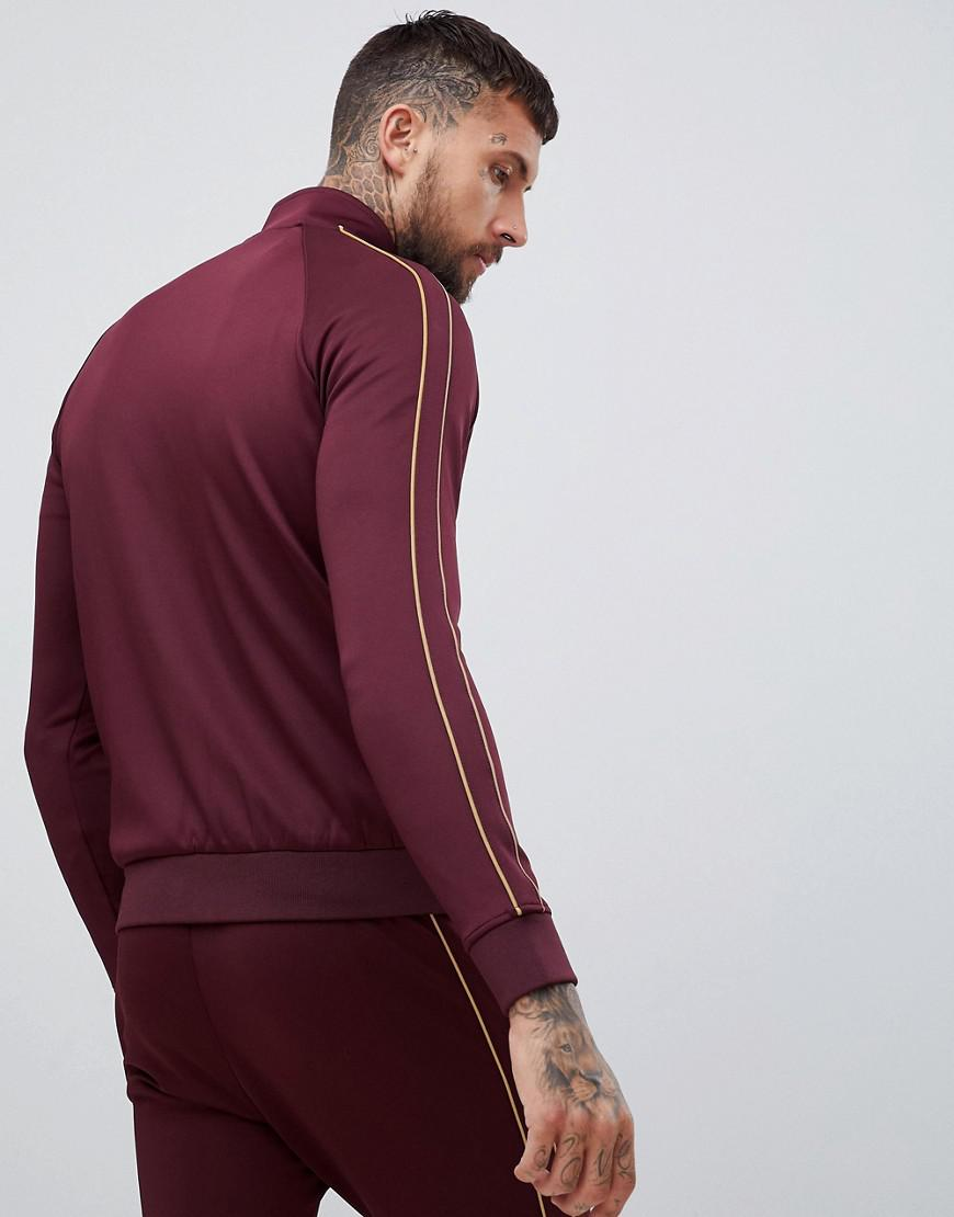 a0381693 Gym King Muscle Track Top In Burgundy With Gold Side Stripes in Red for Men  - Lyst