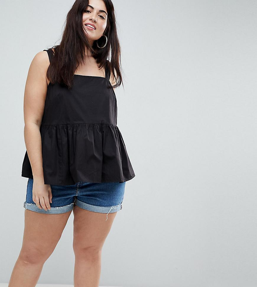 ASOS DESIGN Curve Smock Cami In Cotton - Black Asos Curve Outlet Ebay Buy Cheap Amazon UM74R7RUU