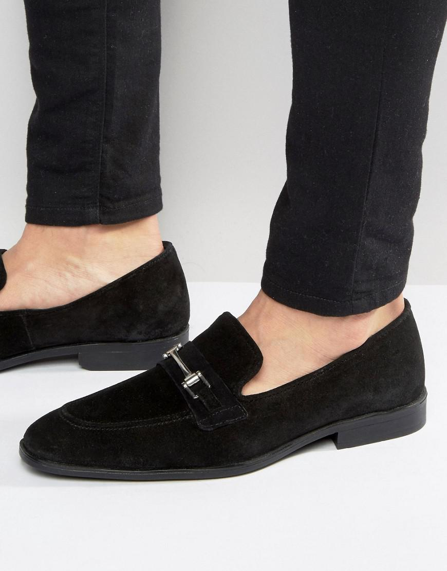 ASOS. Men's Loafers In Black Suede With Metal Snaffle