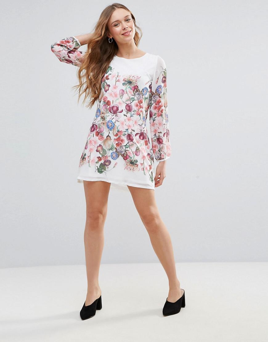 f6095fc4 Yumi White Floral Long Sleeve Day Dress | Saddha