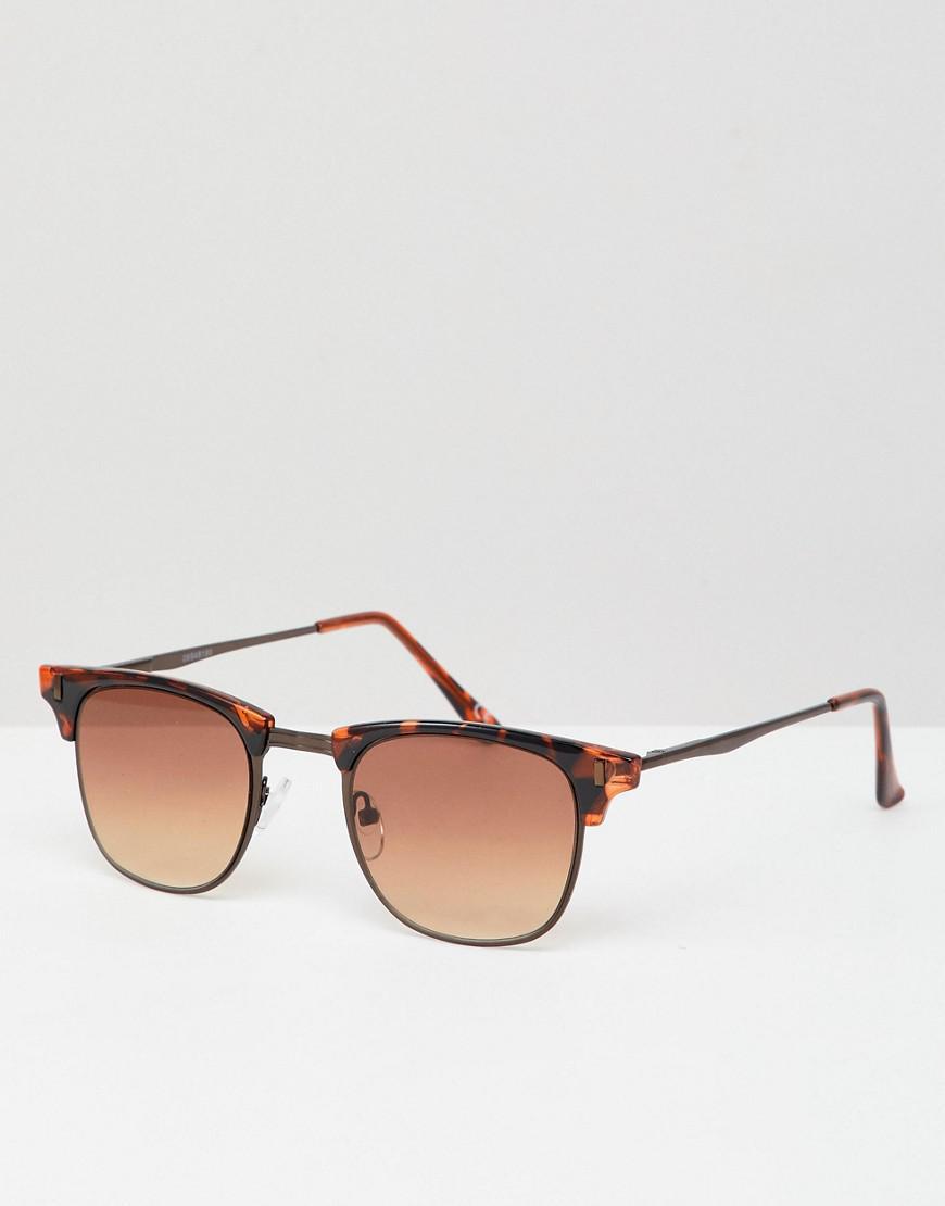 5fd003d74b93c0 Lyst - Asos Retro Sunglasses In Tort With Brown Lens in Brown for Men