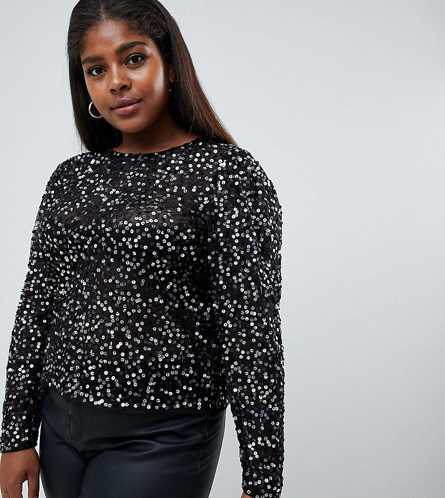 c2966b501cc Lyst - ASOS Asos Design Curve Long Sleeve Top With Sequin ...
