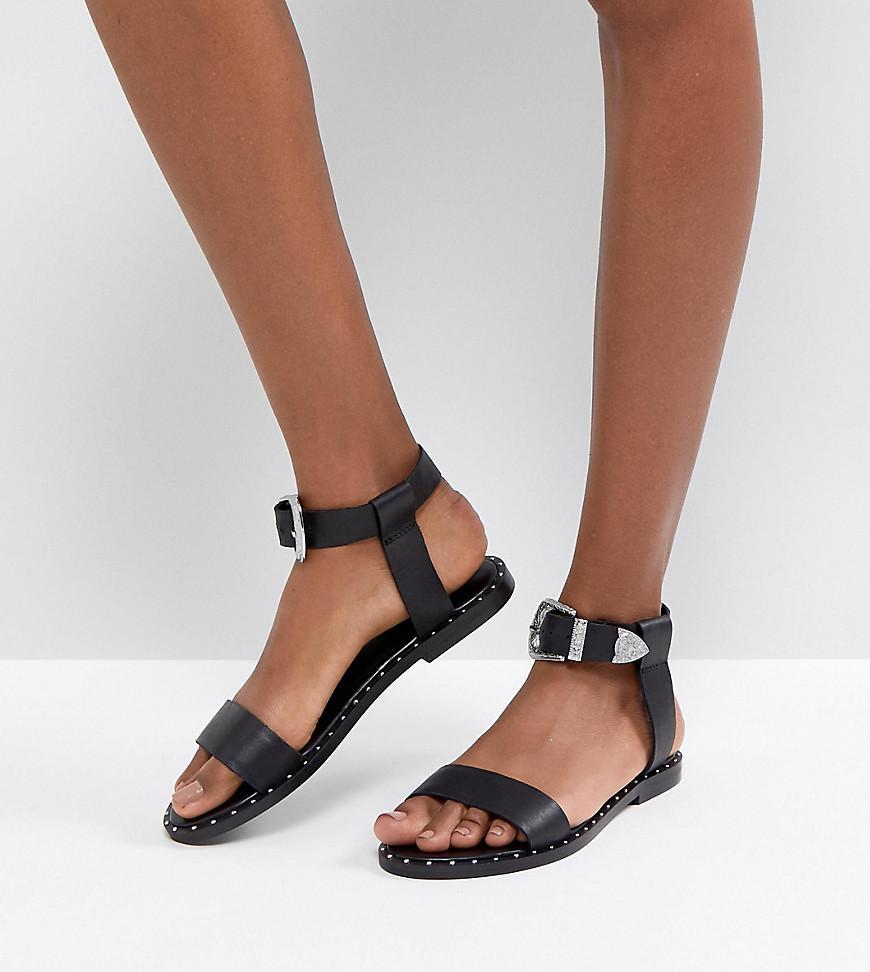 FAZ Leather Western Sandals - Black Asos BEYty