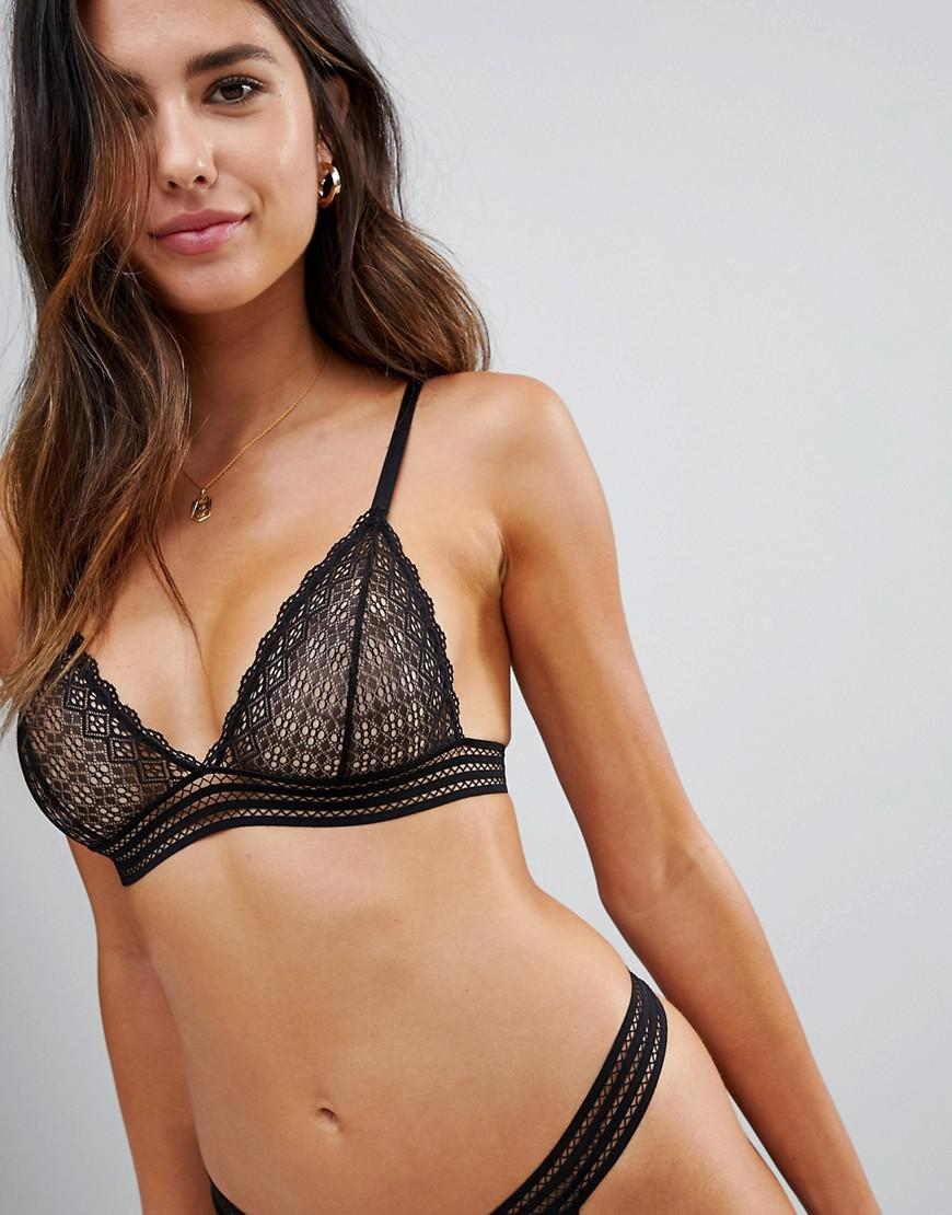 078617157c424 ASOS Hayley Lace   Elastic Detail Triangle Bra in Black - Lyst