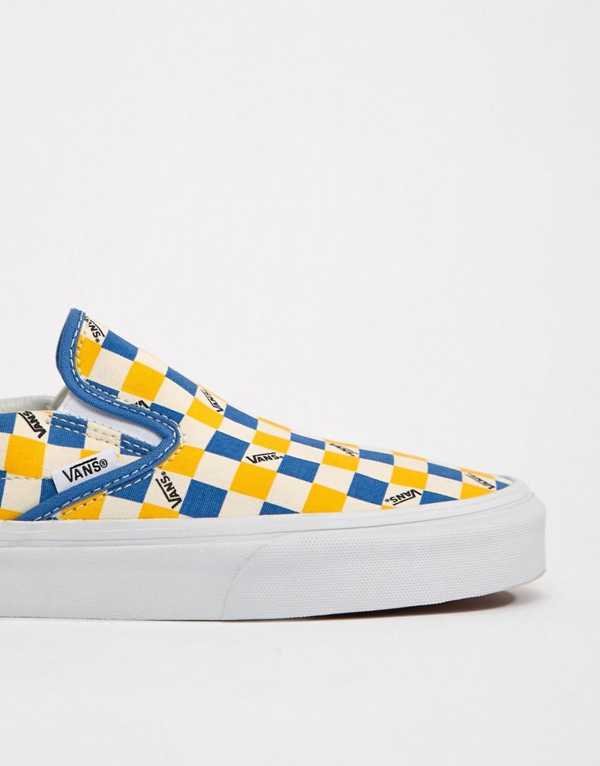 39060dd8f6 Vans Factory Pack Checkerboard Slip-on Plimsolls In Yellow Exclusive ...