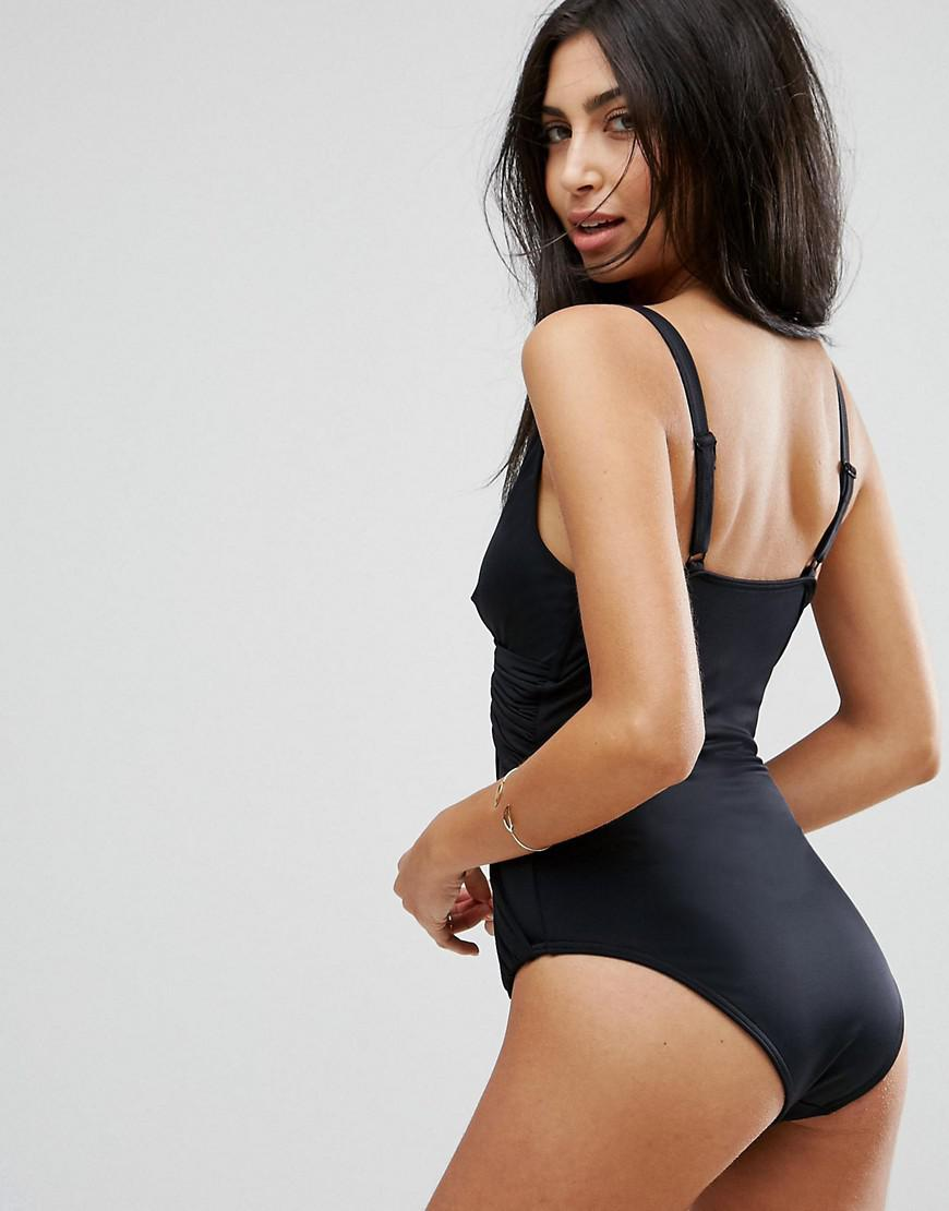 1155410442 ASOS 'sculpt Me' Control Drape Front Supportive Swimsuit in Black - Lyst