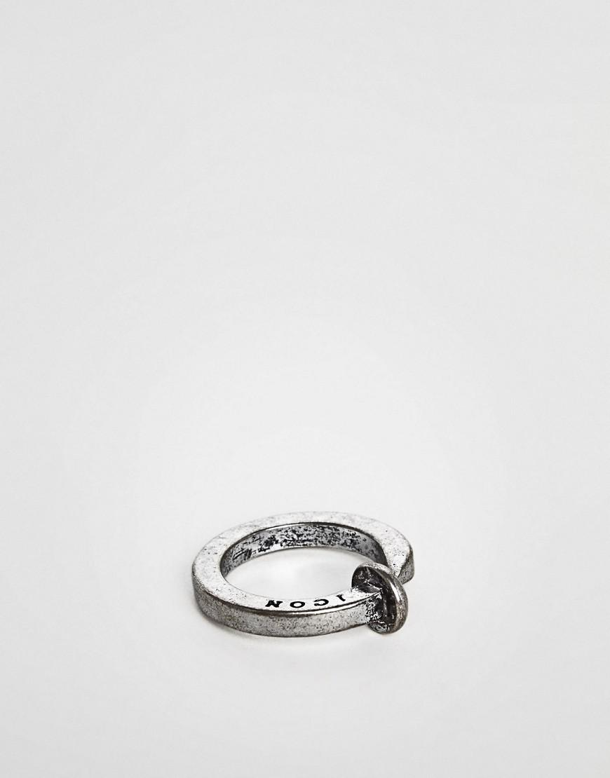 Nail Ring In Burnished Silver - Silver Icon Brand id7ZALH