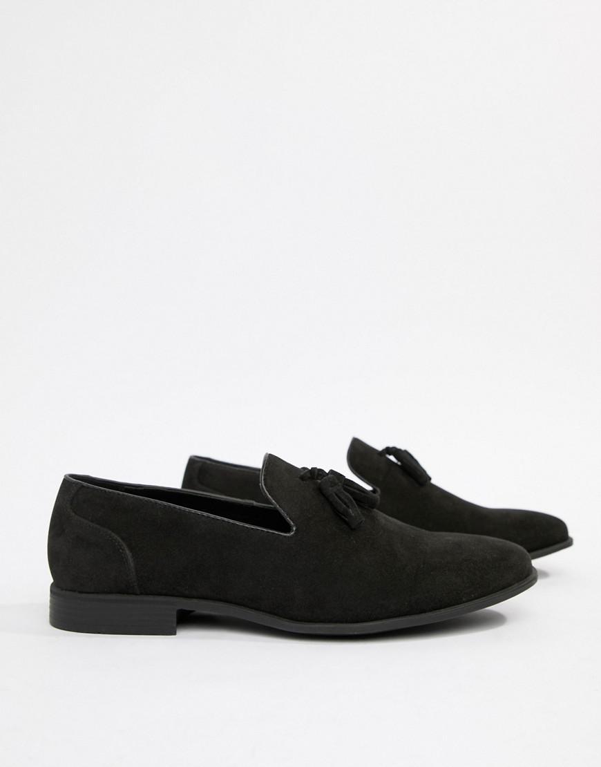 853fce4dc92 Asos Wide Fit Tassel Loafers In Black Faux Suede in Black for Men - Lyst