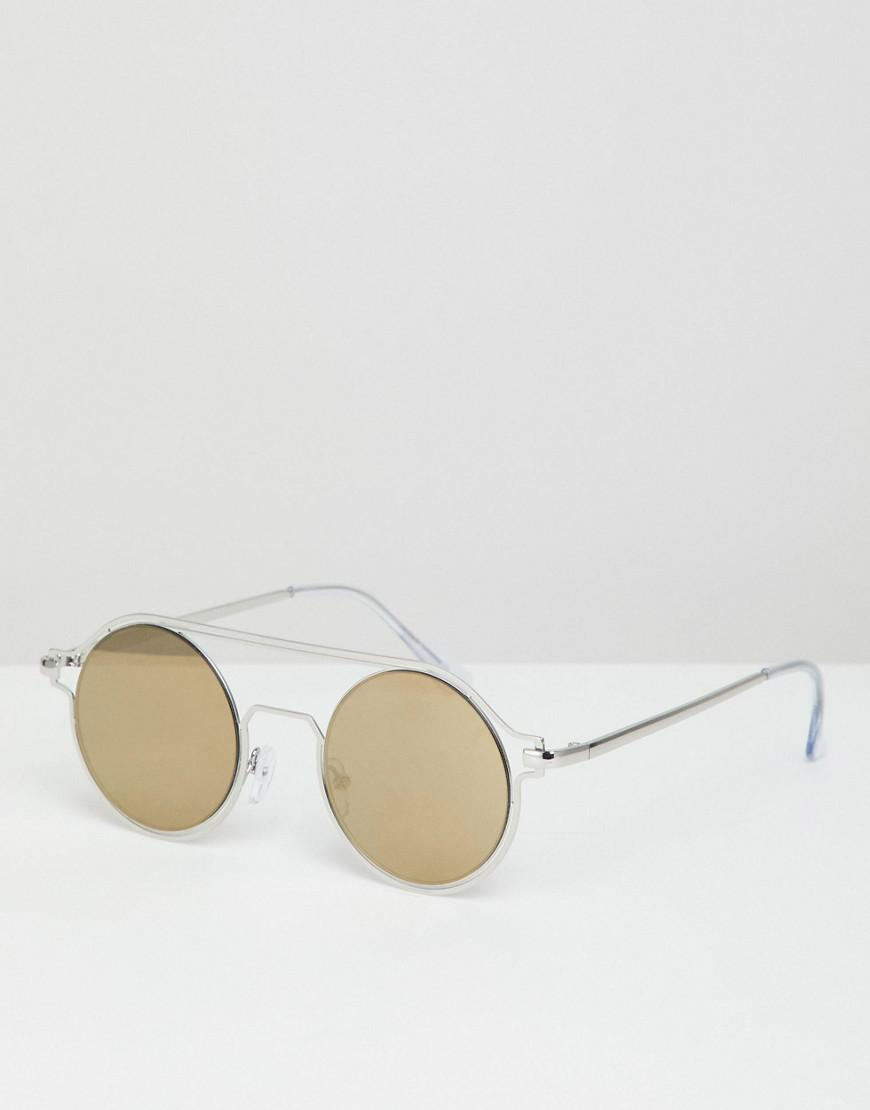 d3a07e0065 Asos Round Sunglasses In Silver With Brow Bar Detail in Metallic for ...
