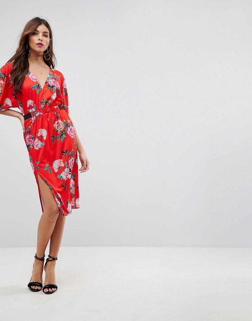 84dad154392 ASOS Asos V Neck Midi Dress With Elastic Waist Detail In Red Floral ...