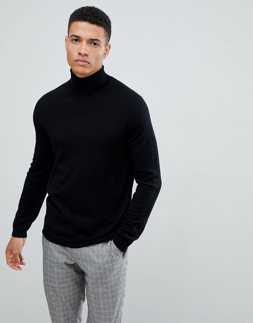 cec09b96c718 ASOS Merino Wool Roll Neck Jumper In Black in Black for Men - Lyst