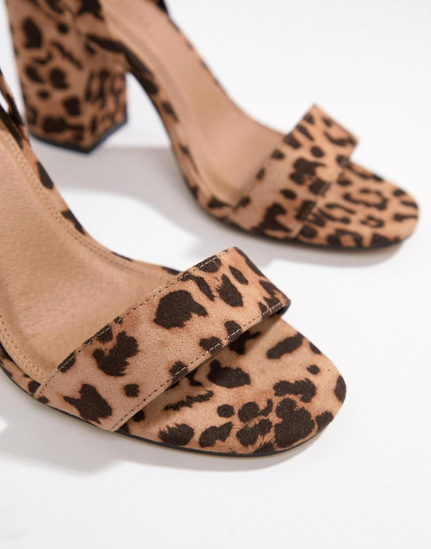 d10db085caa ASOS - Brown Wide Fit Howling Tie Leg Block Heeled Sandals In Leopard Print  - Lyst. View fullscreen
