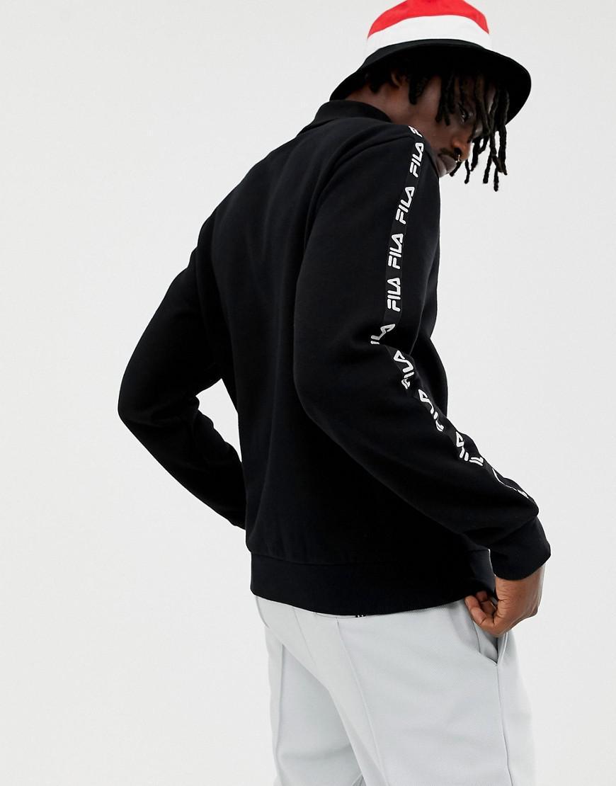 b7e74d0e622e Fila Black Line Drey Logo Turtle Neck Sweatshirt With Taping In Black in  Black for Men - Lyst