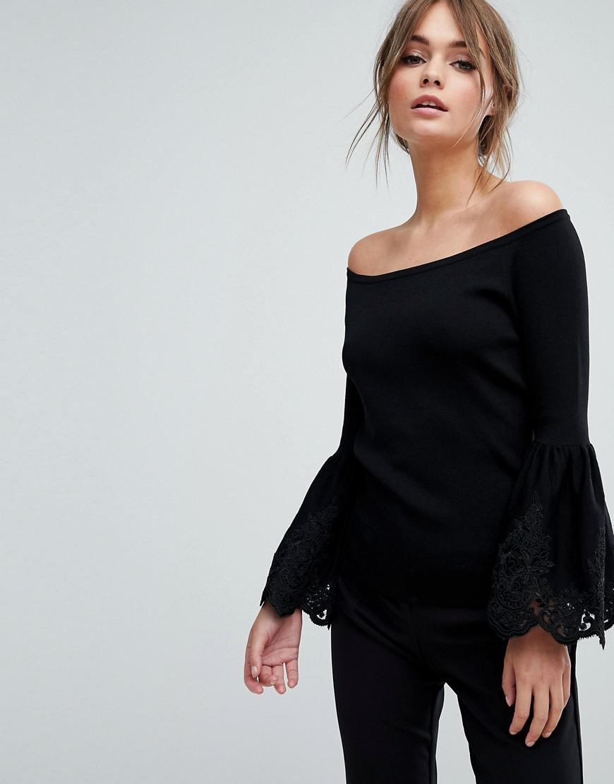 2c29709504922 Coast Evie Lace Trim Hem Bardot Knit Top in Black - Lyst