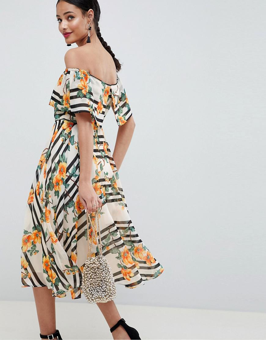 cfa36cf4fd7d Lyst - ASOS Soft Bandeau Midi Dress In Stripe And Floral Print