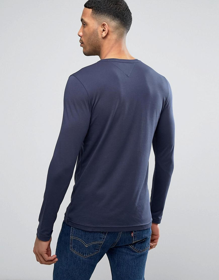 d8a42714dbc5 Tommy Hilfiger Long Sleeve Top Flag Logo In Navy Exclusive At Asos in Blue  for Men - Lyst