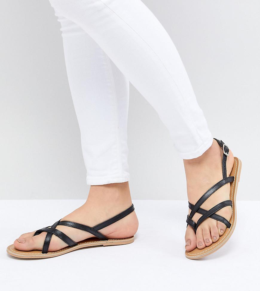 22be496f181653 Lyst - London Rebel Flat Sandals in Black