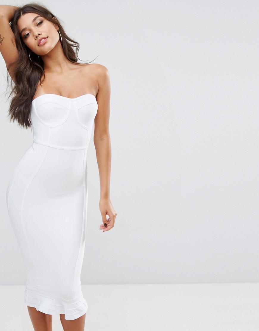 fd9fd154c PrettyLittleThing Premium Bandage Frill Hem Midi Dress in White - Lyst