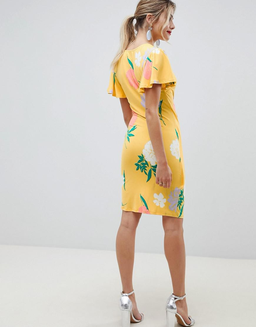 08e4c4fad8f Asos Wrap Front Mini Dress With Angel Sleeve In Floral Print in Yellow -  Lyst