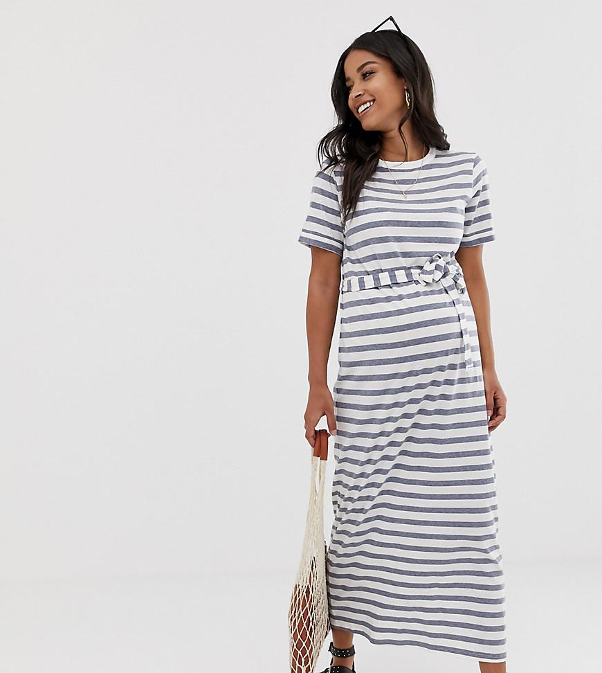 6465006e4af ASOS. Women s Asos Design Maternity Exclusive Maxi T-shirt Dress In Bold  Stripe With Belt