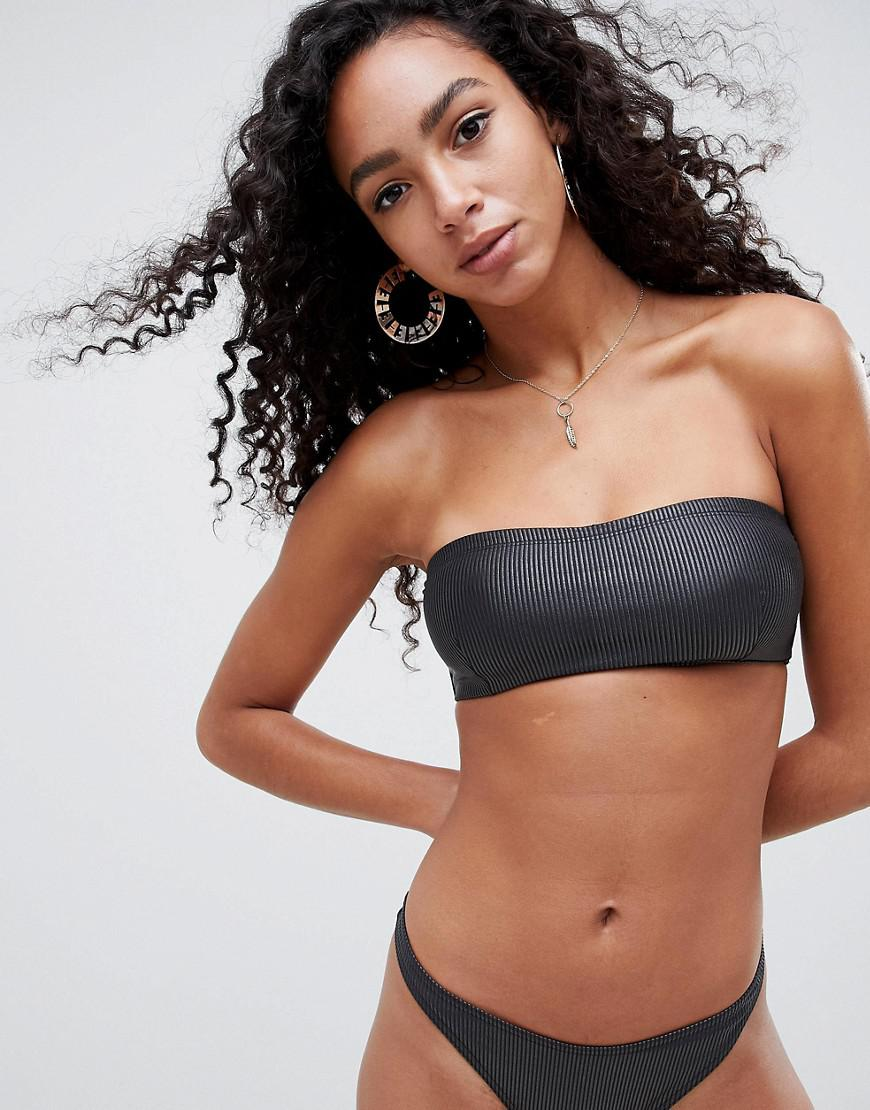 73a072ab806cb Lyst - ASOS Wet Look Ribbed Bandeau Bikini Top In Black in Black