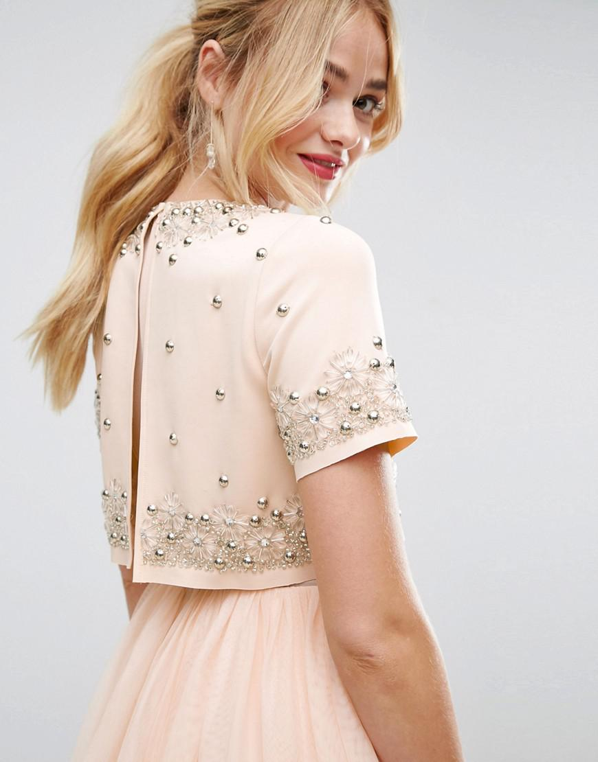 ecab760fd1 ASOS Embellished Crop Top Tulle Midi Dress in Pink - Lyst