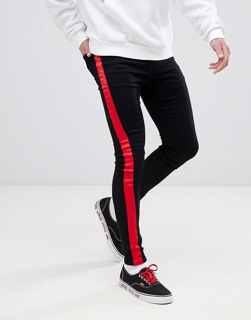 d216431f491b Sixth June Super Skinny Jeans In Black With Red Side Stripe in Black ...