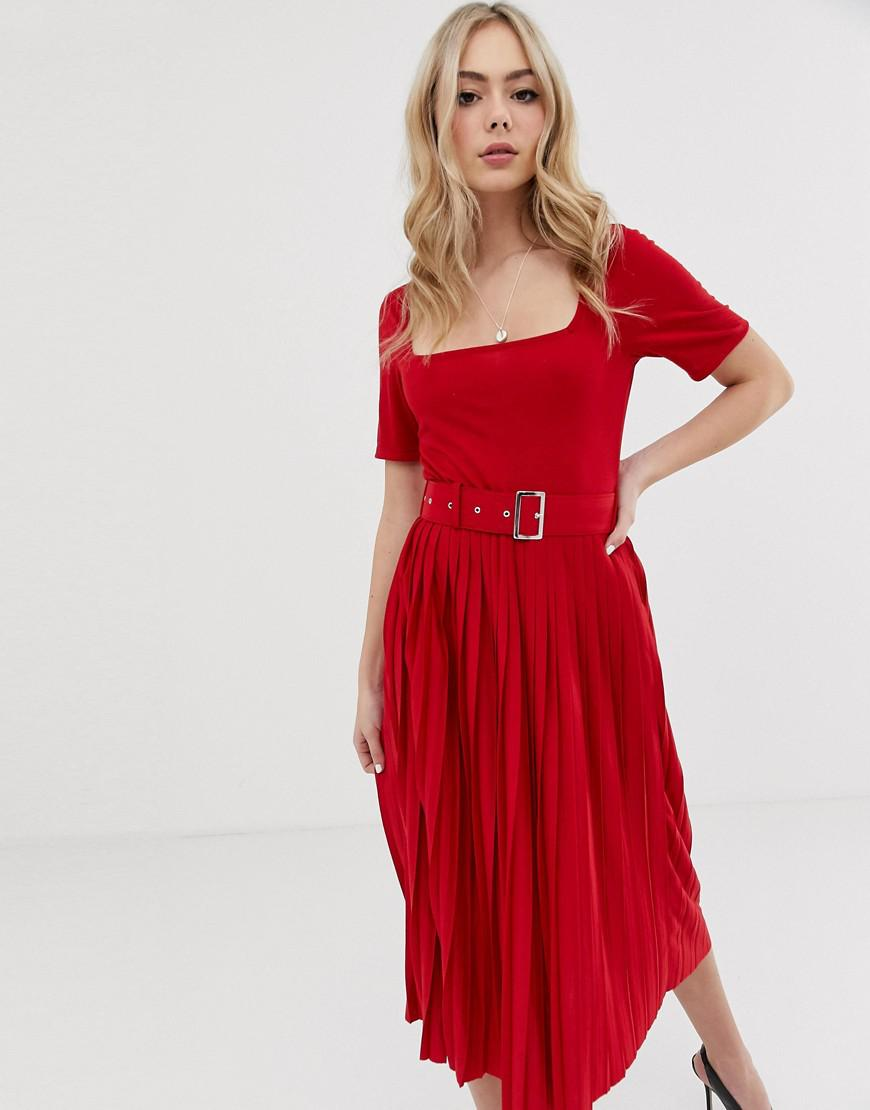 24baa124e4cb Lyst - ASOS Midi Dress With Pleated Skirt And Belt in Red