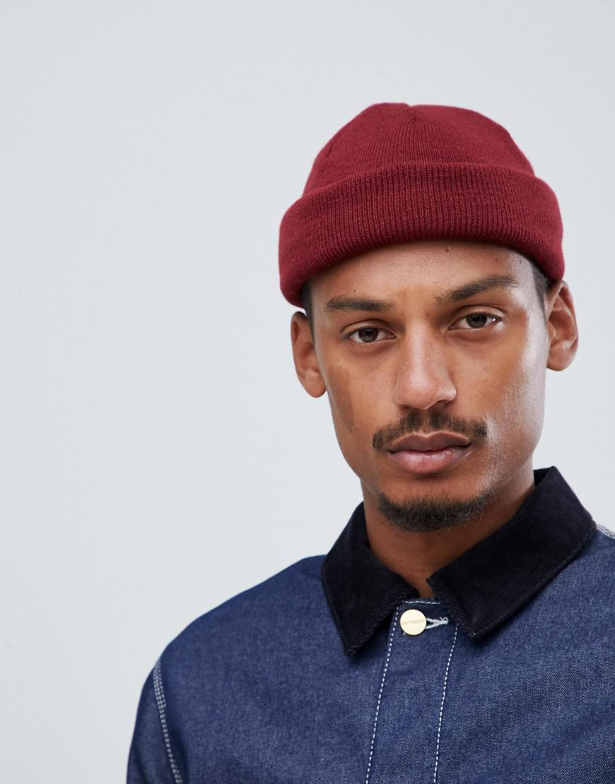 Asos Mini Fisherman Beanie In Burgundy In Red For Men Lyst