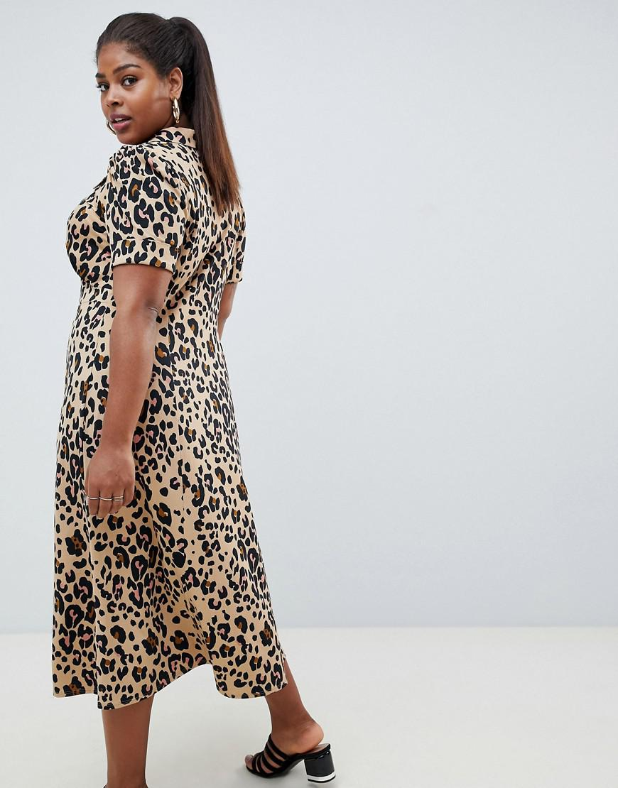 fb8f8f59590 ASOS Asos Design Curve Animal Print Midi Tea Dress - Lyst