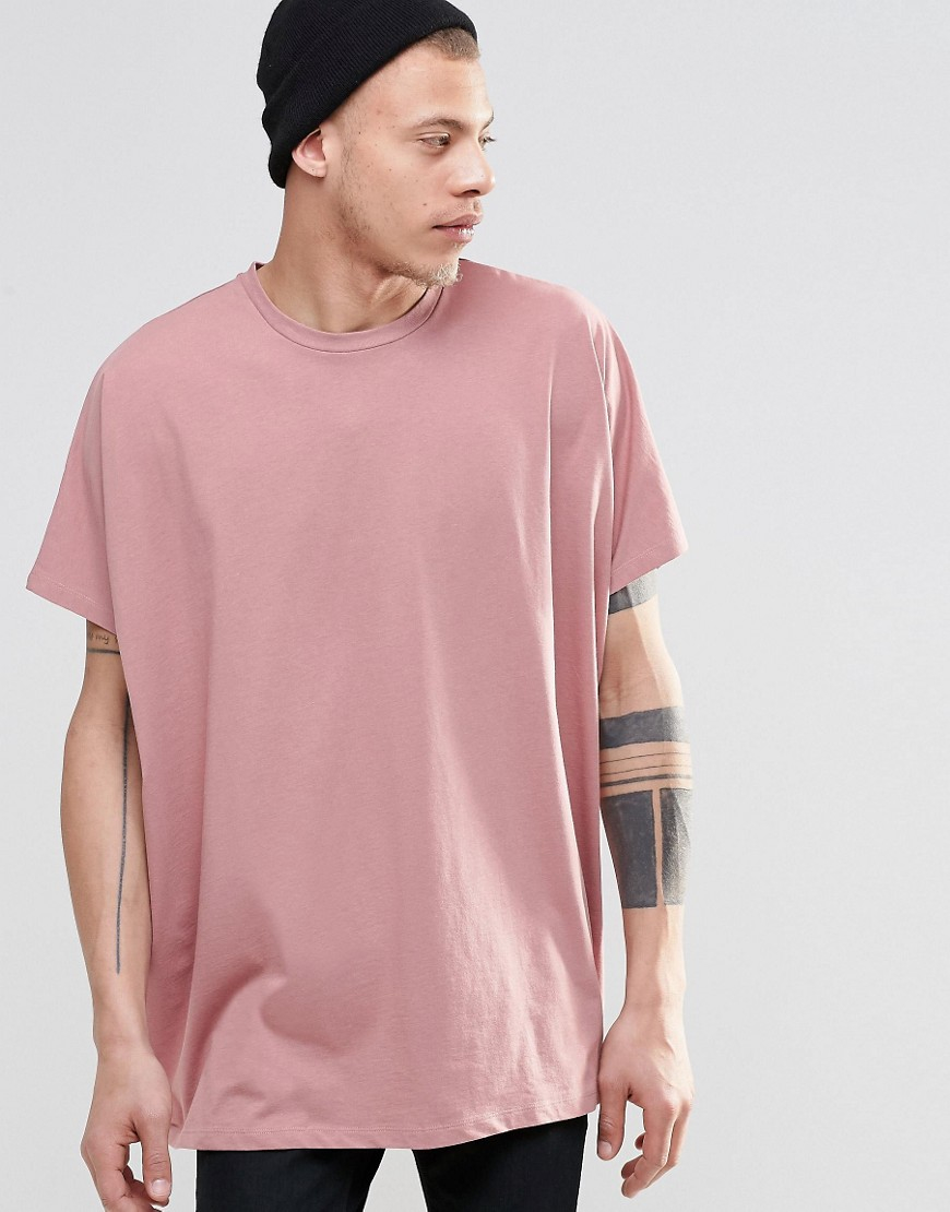 3a85c7a07 ASOS Extreme Oversized T-shirt In Pink in Pink for Men - Lyst