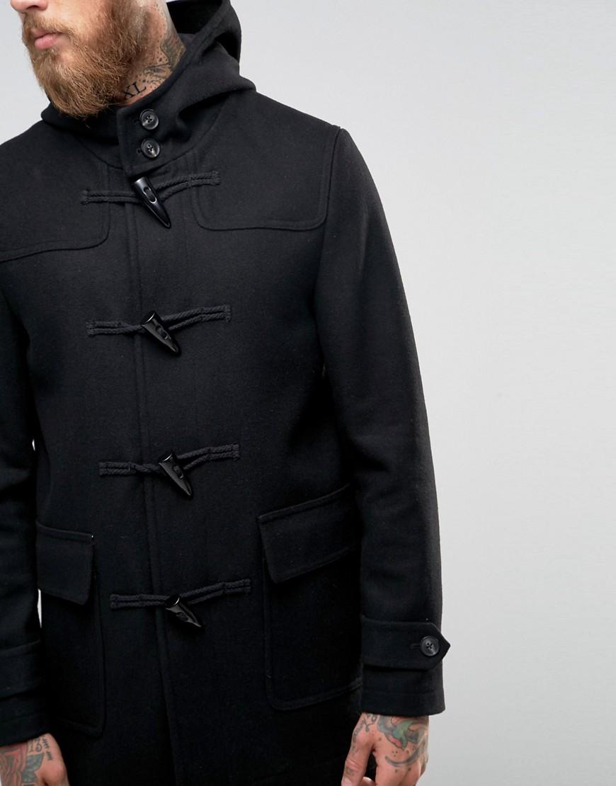 asos wool mix duffle coat in black in black for men lyst. Black Bedroom Furniture Sets. Home Design Ideas