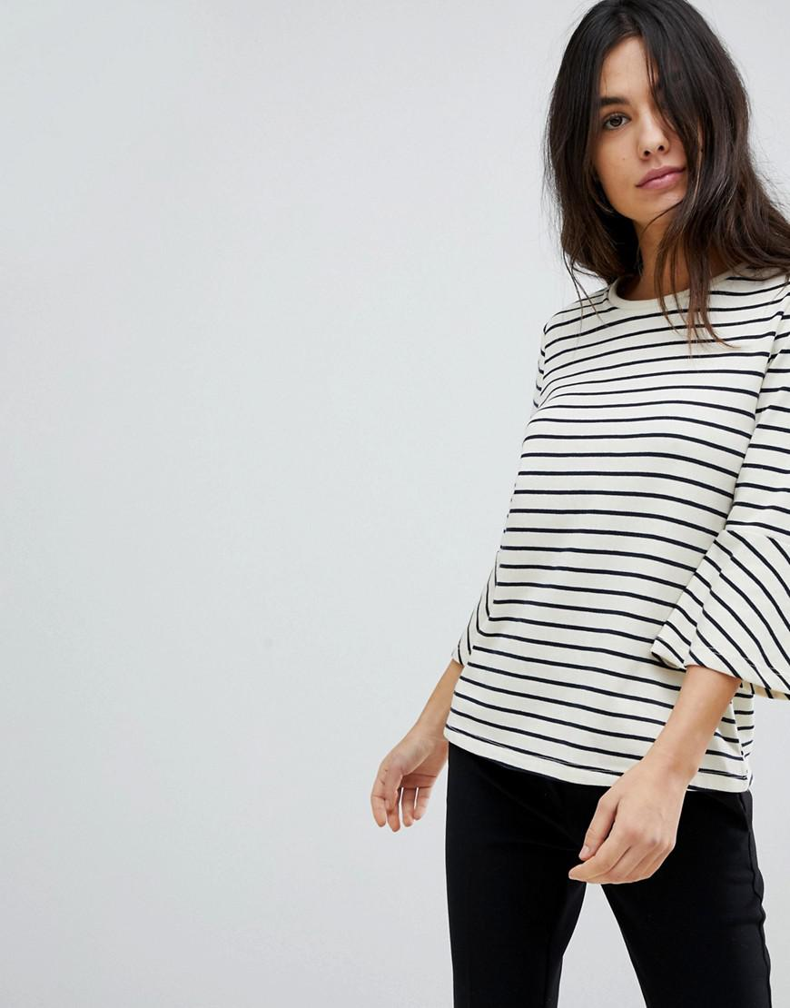 73b324f9190695 Lyst - Y.A.S Stripe Top With Flare Sleeve in White