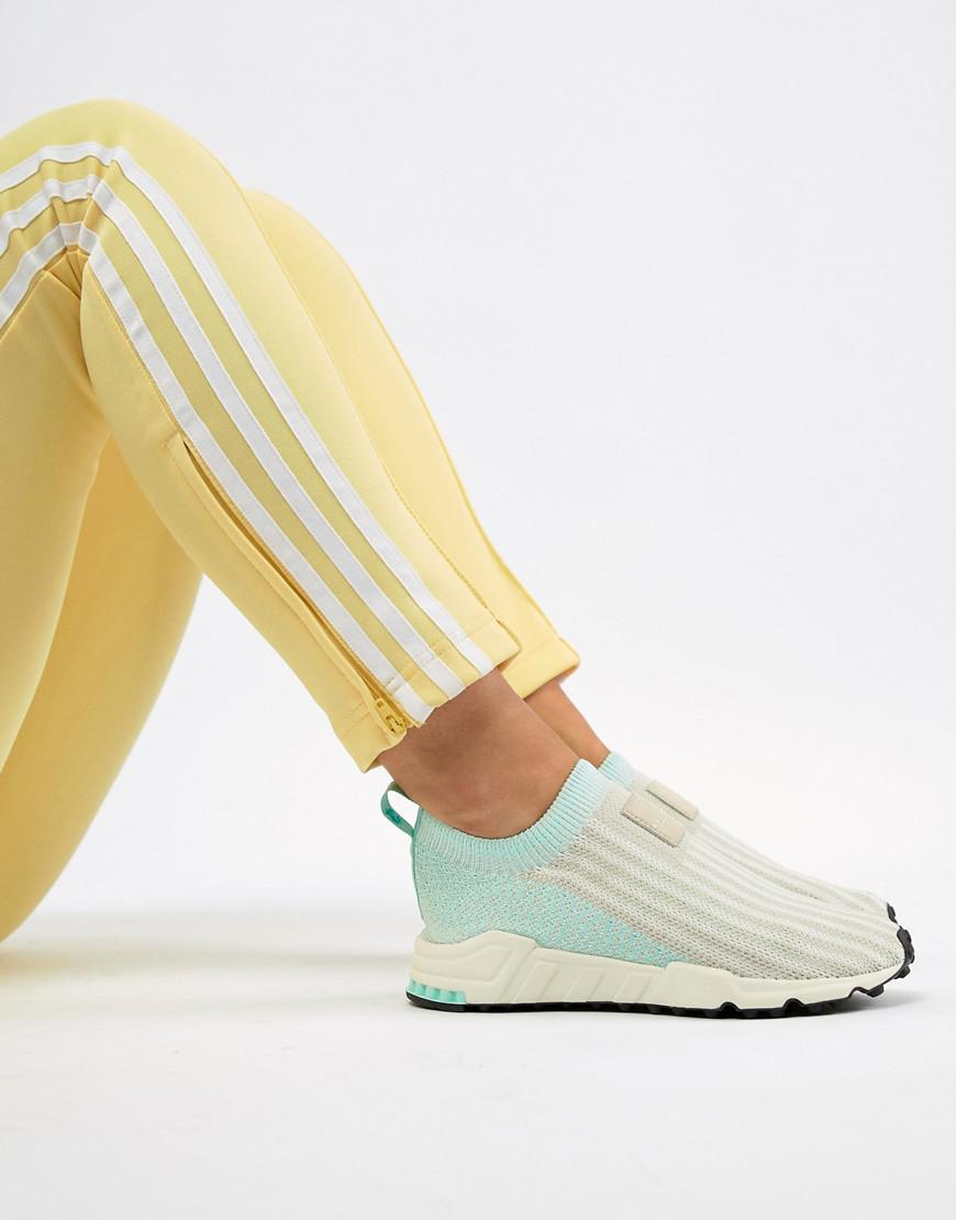 online store 0b636 4201f Lyst - adidas Originals Eqt Support Sock 13 Sneakers In White And Mint in  White