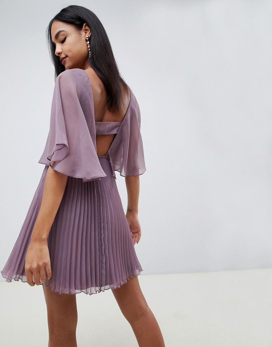 0b59ba1f1af5 ASOS Flutter Sleeve Mini Dress With Pleat Skirt in Purple - Lyst